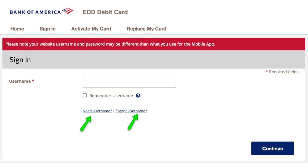 """California Debit Card Login - forgot username"""
