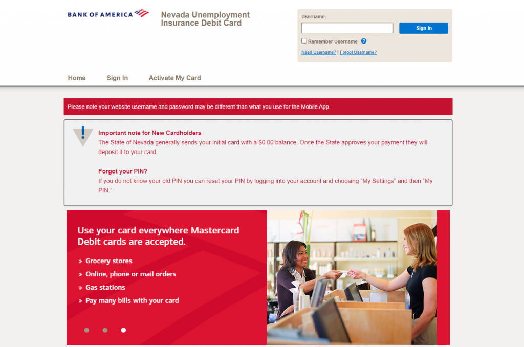 NV Unemployment Insurance Debit Card Website - Login Instructions