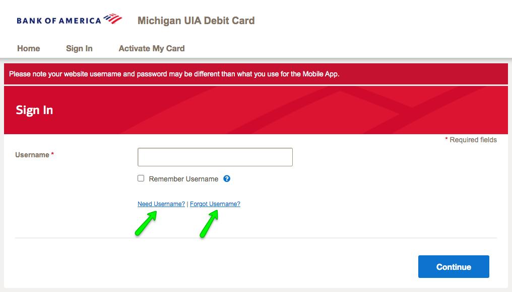 """Michigan UIA Debit Card Login - Forgot username or password"""