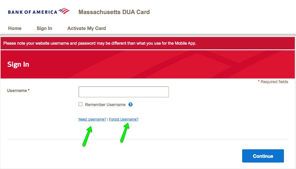 """""""Massachusetts Debit Card Login - forgot username"""""""