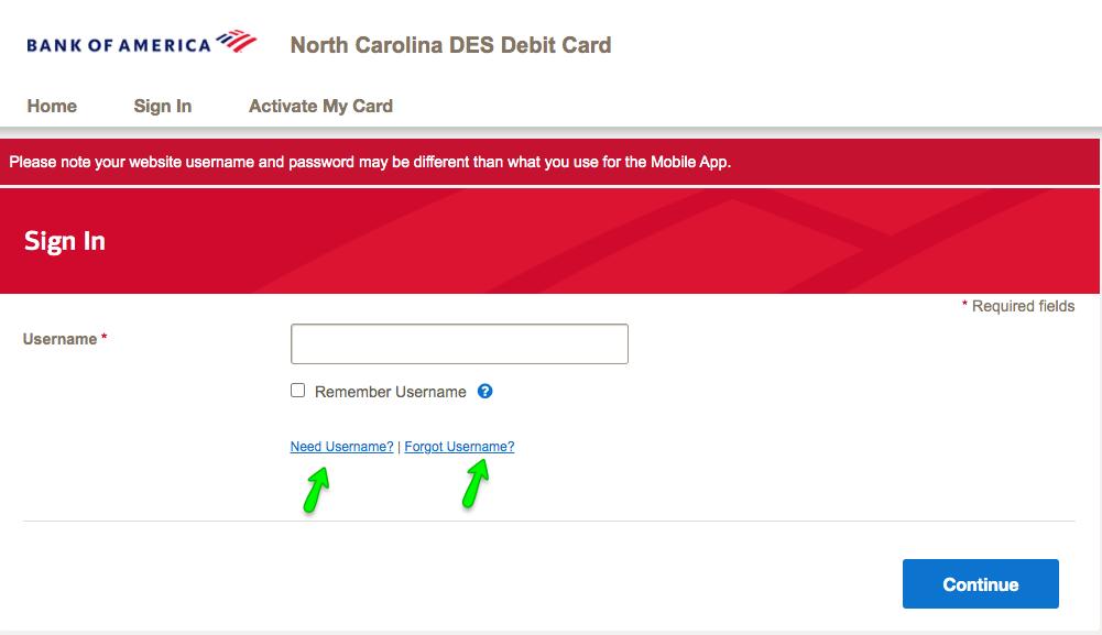 """North Carolina DES Unemployment Debit Card - Forgot username"""