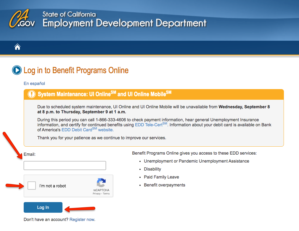 """California EDD Benefit Programs Online Login 1"""