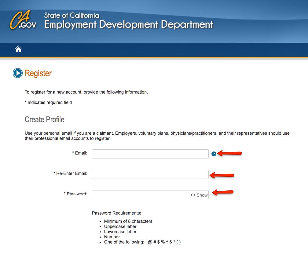 """Create CA Benefits Programs Online account"""