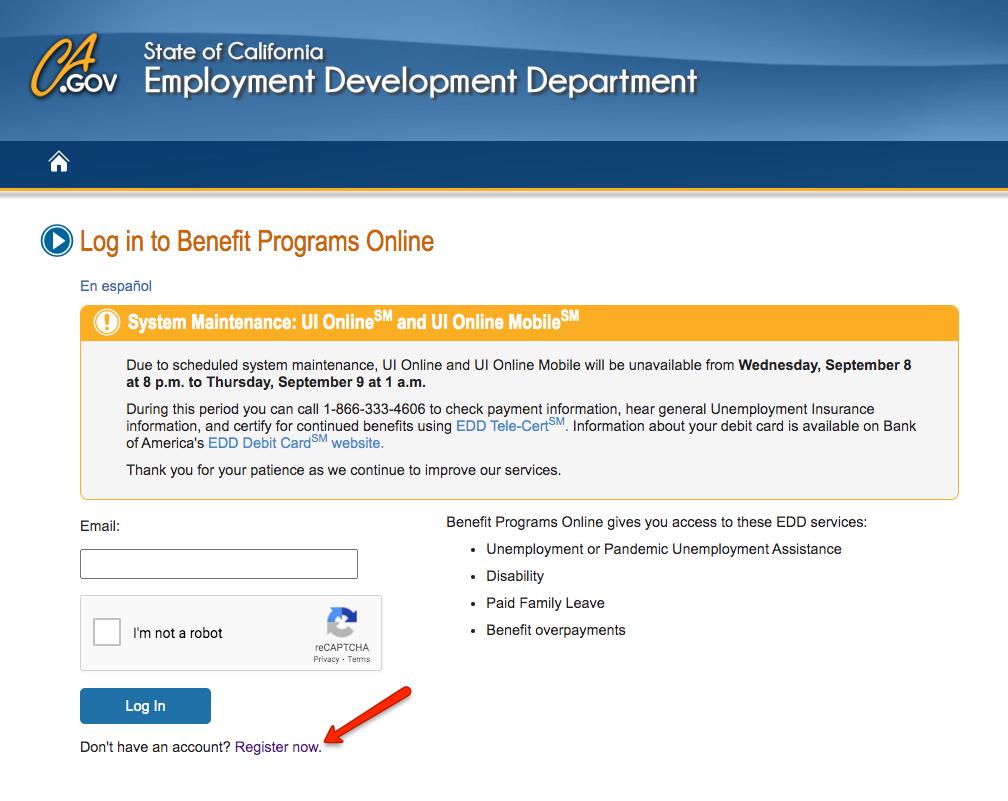 """Create California Unemployment Benefits Programs Online Account"""