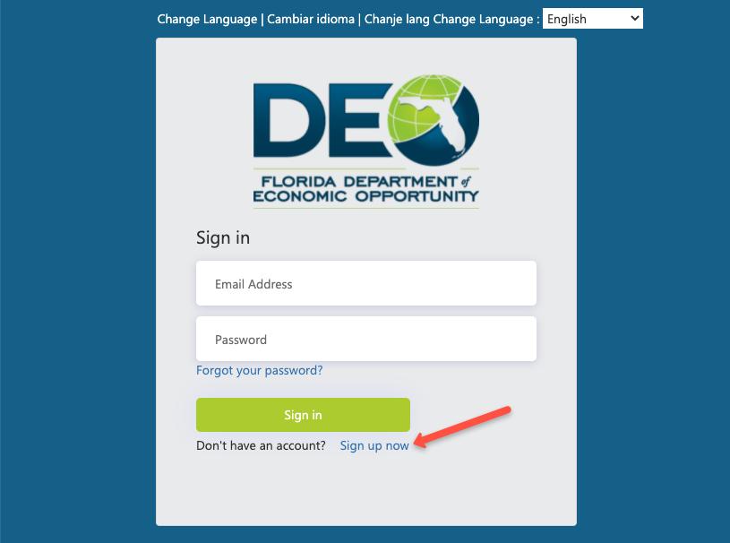 """Create a Florida Unemployment CONNECT Account"""