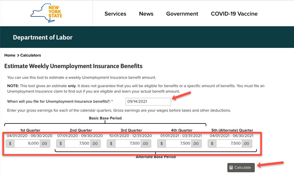 """""""New York Unemployment Benefits Calculator 1"""""""
