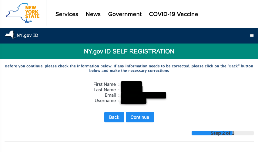 """""""Sign up for NY.gov ID account step 2"""""""