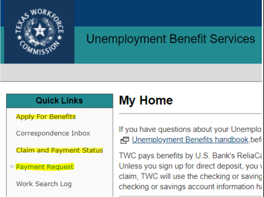"""TWC Unemployment Benefit Services account"""