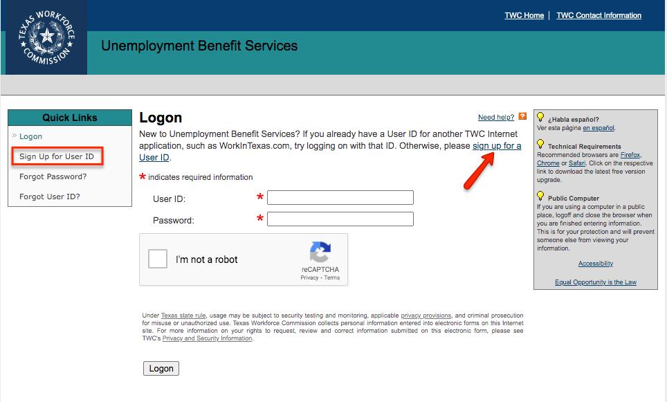 """TWC Unemployment Create account"""