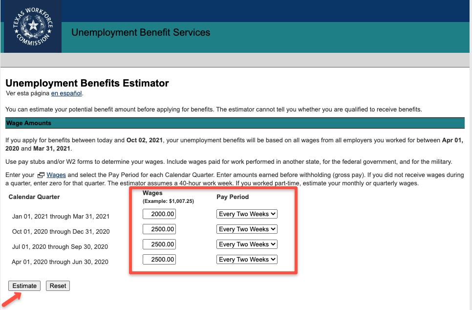 """Texas Unemployment Benefits Calculator 1"""