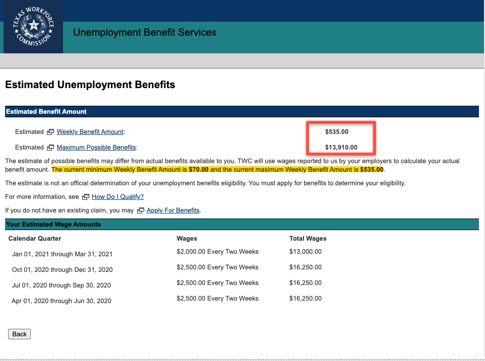 """Texas Unemployment Benefits Calculator Results"""