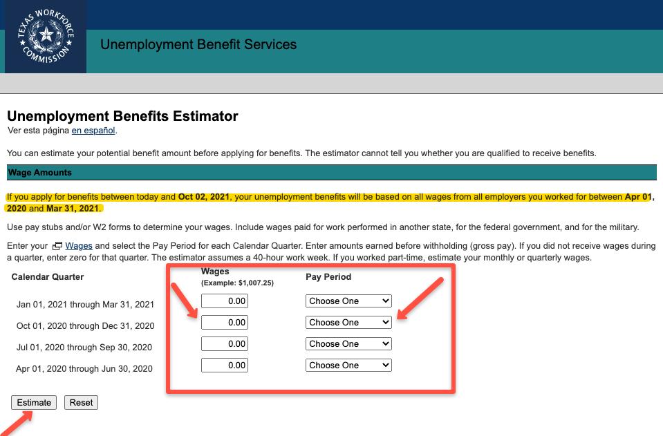 """Texas Unemployment Benefits Calculator"""